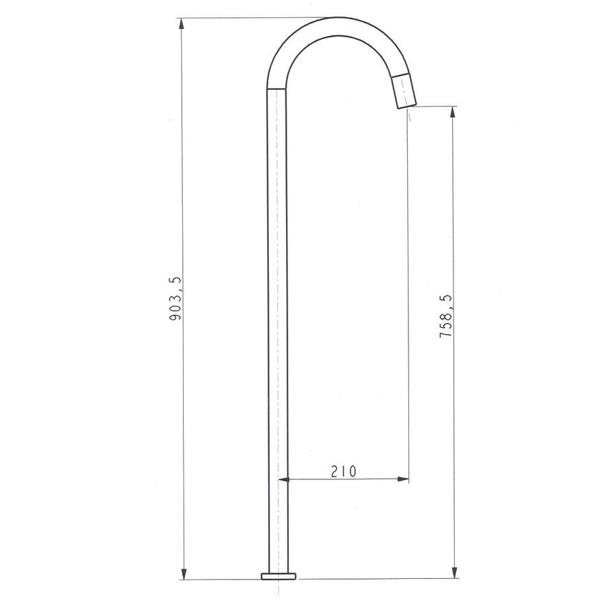 Meir Round Freestanding Bath Filler - technical drawings | Bathroom Warehouse