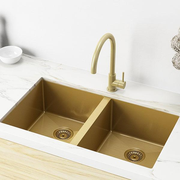 Meir Brushed Gold Kitchen Sink Double Bowl, Online | Bathroom Warehouse