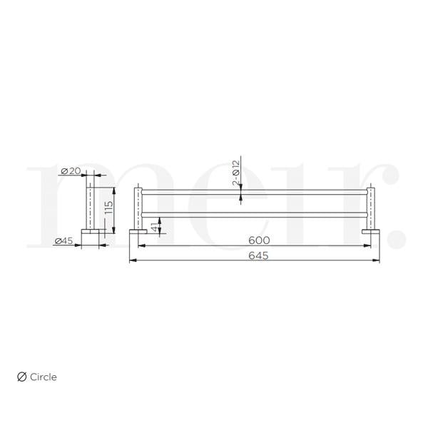 Meir Round Double Tiger Bronze Towel Rail 600mm Technical Drawing | Bathroom Warehouse