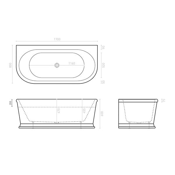 Technical Drawing - Decina Oxford 1700mm Back-To-Wall Freestanding Bath | Bathroom Warehouse