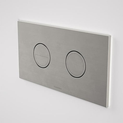 Caroma Invisi Series II Round Dual Flush Plate & Buttons Brushed Nickel | Bathroom Warehouse