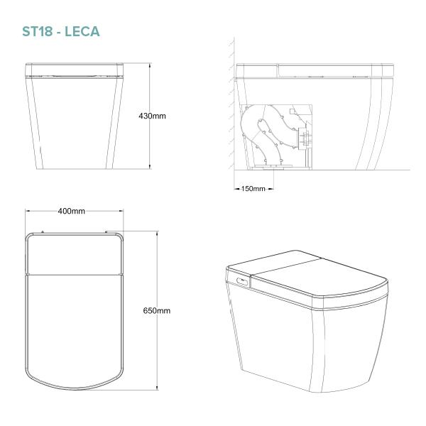 Lafeme Leca Smat Toilet Technical Drawing | Bathroom Warehouse