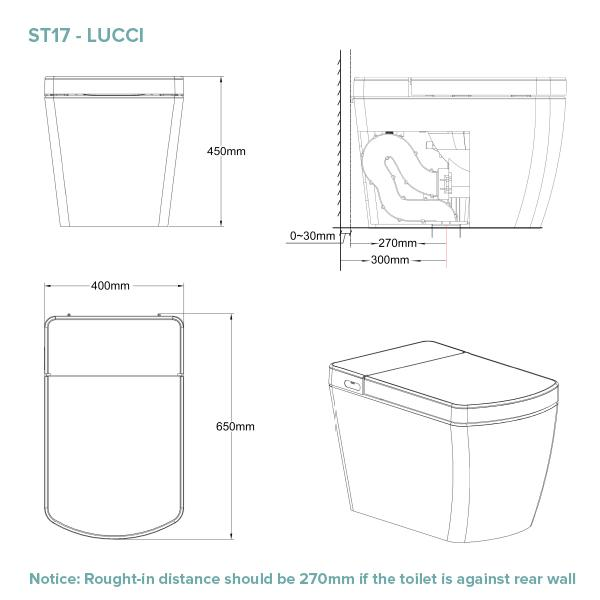Lafeme Lucci Smart Toilet Technical Drawing | Bathroom Warehouse