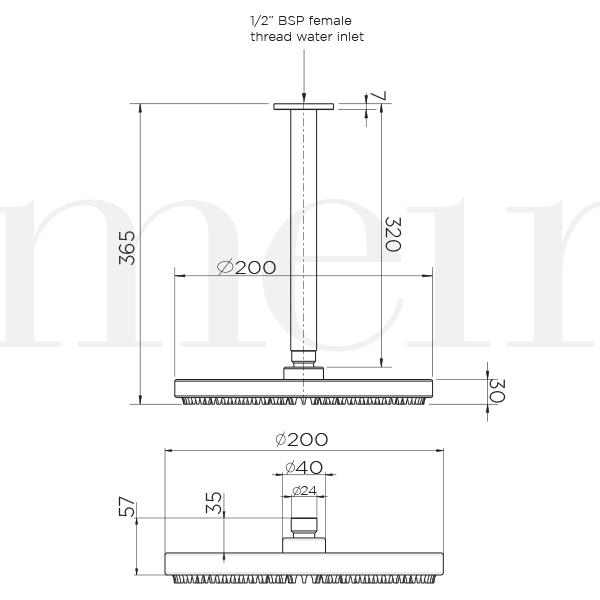 Meir Round Ceiling Shower 200mm Rose and 300mm Dropper Technical Drawing | Bathroom Warehouse