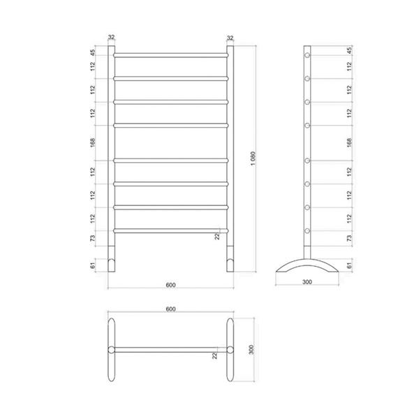 Thermogroup 8 Bar Straight Round Freestanding Heated Towel Rail Technical Drawing - Bathroom Warehouse