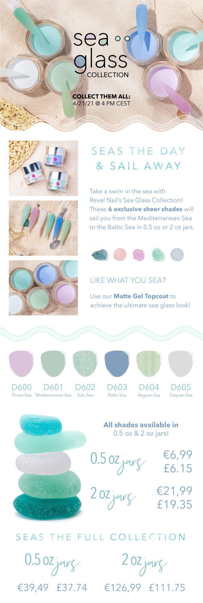 Sea Glass Collection | Ocean Jewelry on your finger tips | Revel Nail Dip Powder