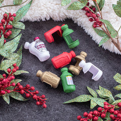 Vial Safe insulin vial protector cases  short size holiday colors dark green red white and gold on christmas background
