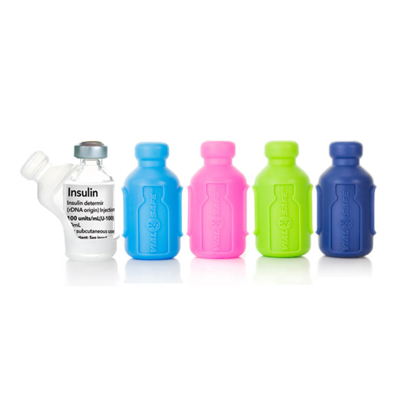 Vial Safe insulin protector case short size 5 pack in light blue green navy blue pink and clear insulin bottle diabetes medication