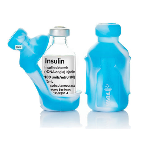 Insulin Vial Protector Case, Short 10mL Size, Tie Dye Light Blue, 2-Pack