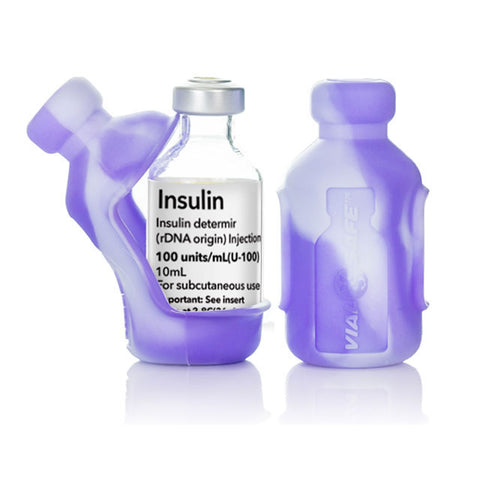 Insulin Vial Protector Case, Short 10mL Size, Tie Dye Purple, 2-Pack