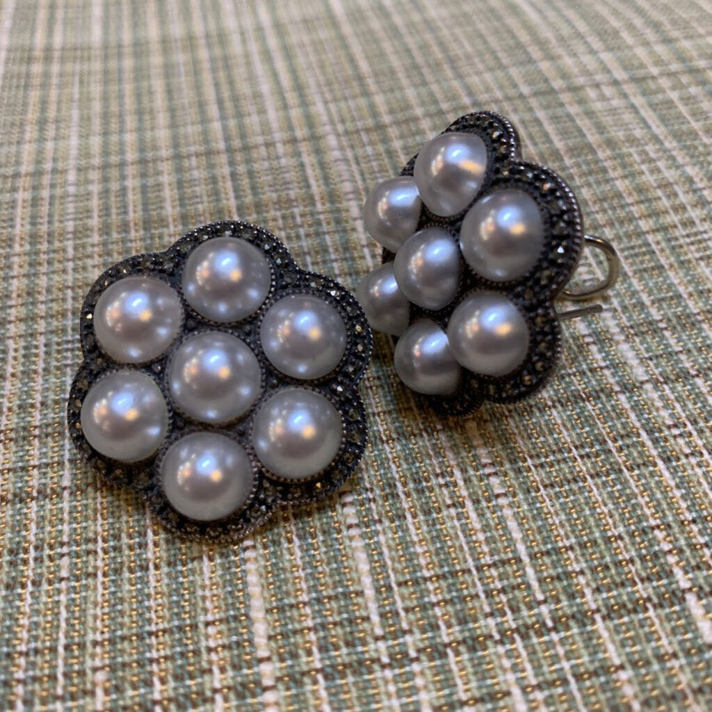 SS Marcasite/Faux All over Pearls Leverback Earrings