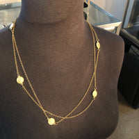 "48"" Goldtone coin stations necklace"