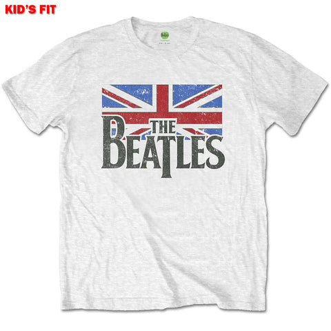 THE BEATLES KIDS TEE: LOGO & VINTAGE FLAG