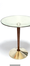 Load image into Gallery viewer, MIDCENTURY OCCASIONAL TABLE GLASS IN BRASS AND WALNUT