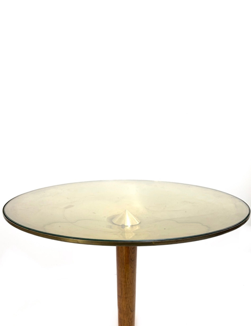 MIDCENTURY OCCASIONAL TABLE GLASS IN BRASS AND WALNUT