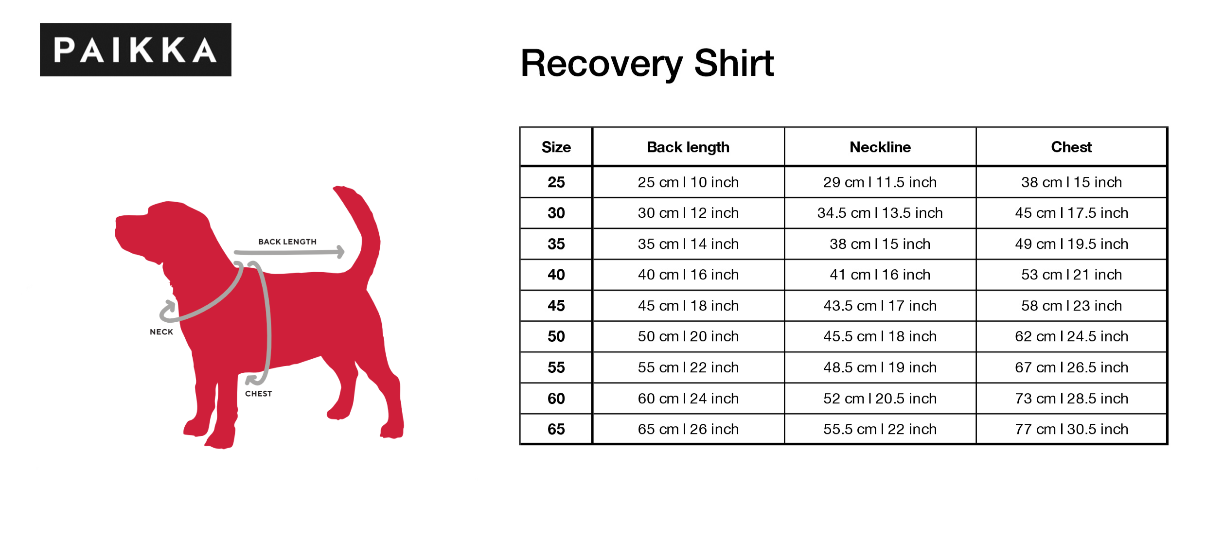 Size guide for Paikka dog recovery shirt.