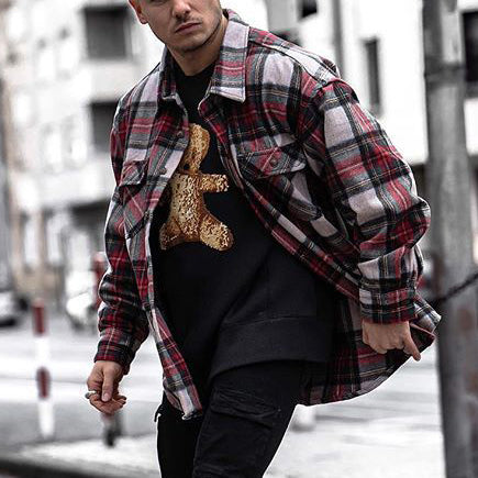 Street fashion check texture button jacket