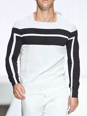 Fashion Slim Black And White Striped Pattern Top