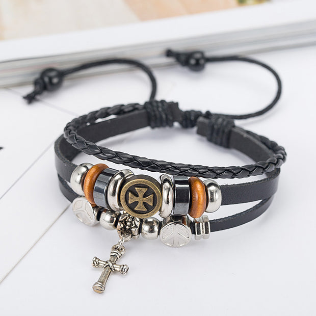 Vintage cowhide braided cross unisex bracelet