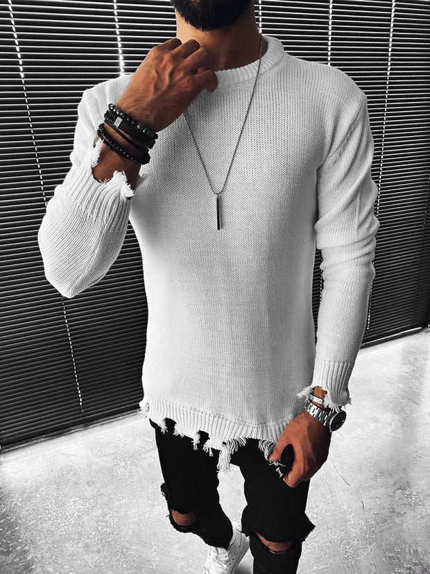 Men's Fashion Slim Round Neck Solid Color Long Sleeve Sweater