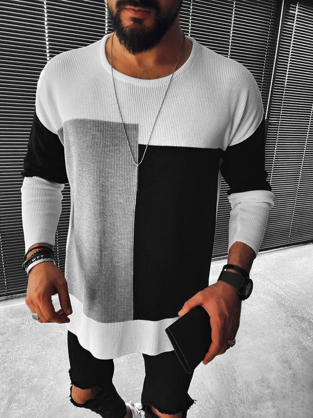 Color block crew neck sweater