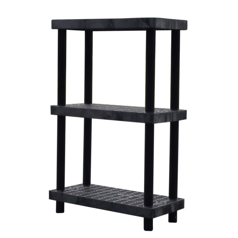 3-Shelf Storage System With Heavy-Duty Ventilated Plastic Shelves