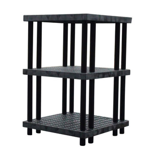 Heavy-Duty Plastic 3-Shelf Shelving Unit With Ventilated Shelves