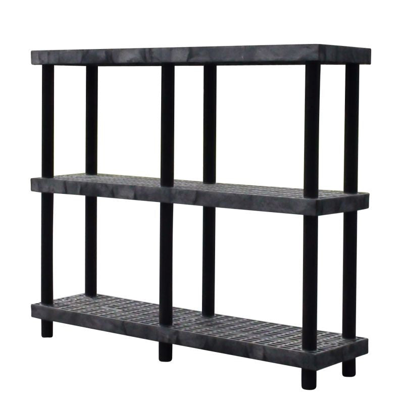 heavy-duty 3-shelf storage shelving system with ventilated shelves
