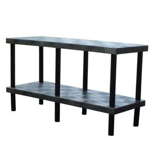 Plastic work bench with solid shelves