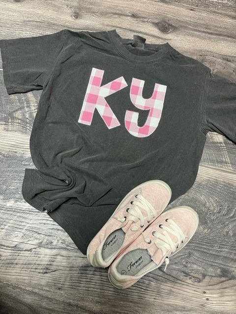 Pink Plaid KY Tee