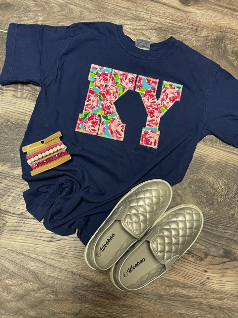 Navy Floral KY Tee