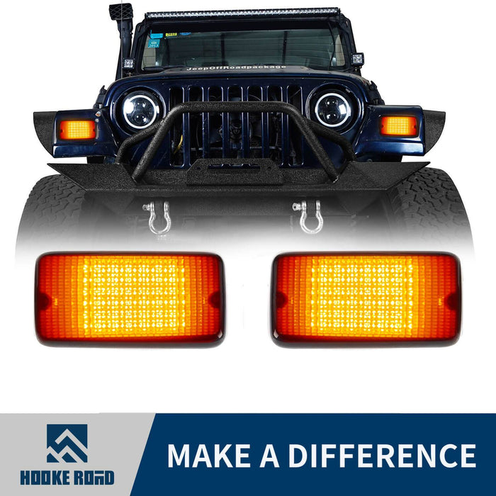 Hooke Road Amber/White Turn Signals 12V Upgraded version(97-06 Jeep Wrangler TJ)