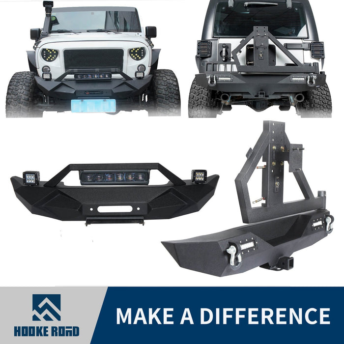 Hooke Road Opar Blade Front Bumper w/60W Work Light Bar & Different Trail Rear Bumper w/Tire Carrier Combo Kit for 2007-2018 Jeep Wrangler JK JKU BXG017b114 u-Box Offroad 1
