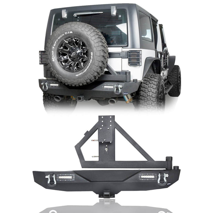 Hooke Road Opar Blade Front Bumper w/60W Work Light Bar & Different Trail Rear Bumper w/Tire Carrier Combo Kit for 2007-2018 Jeep Wrangler JK JKU BXG017b114 u-Box Offroad 9