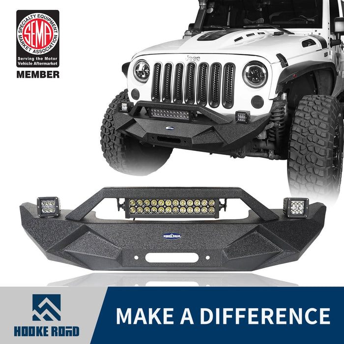 Hooke Road Jeep JK Blade Master Front Bumper w/Winch Plate & Light Bar for 2007-2018 Jeep JK BXG117B u-Box Offroad 1