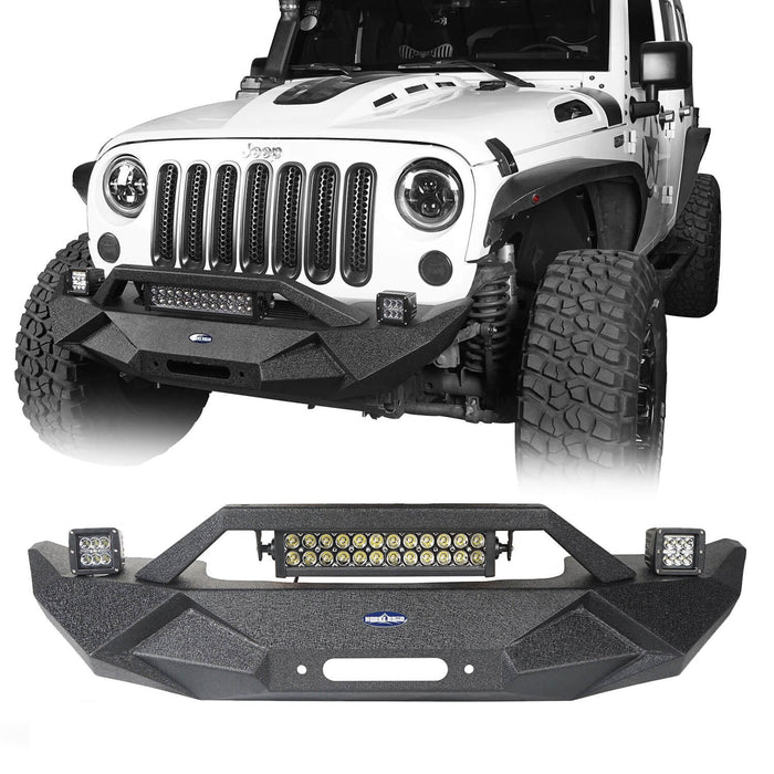 Hooke Road Jeep JK Blade Master Front Bumper w/Winch Plate & Light Bar for 2007-2018 Jeep JK BXG117B u-Box Offroad 2