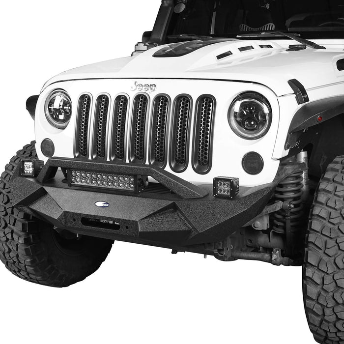 Hooke Road Jeep JK Blade Master Front Bumper w/Winch Plate & Light Bar for 2007-2018 Jeep JK BXG117B u-Box Offroad 3