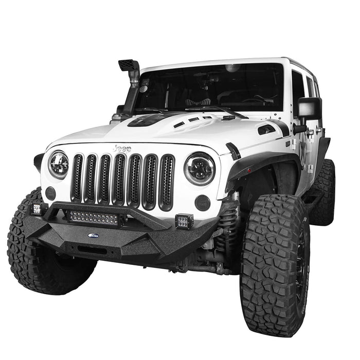Hooke Road Jeep JK Blade Master Front Bumper w/Winch Plate & Light Bar for 2007-2018 Jeep JK BXG117B u-Box Offroad 4