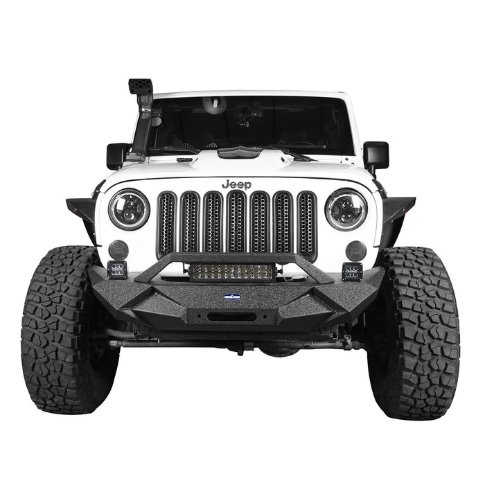 Hooke Road Jeep JK Blade Master Front Bumper w/Winch Plate & Light Bar for 2007-2018 Jeep JK BXG117B u-Box Offroad 5