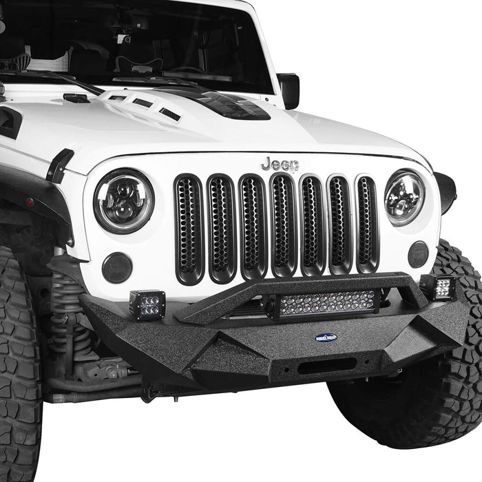 Hooke Road Jeep JK Blade Master Front Bumper w/Winch Plate & Light Bar for 2007-2018 Jeep JK BXG117B u-Box Offroad 6