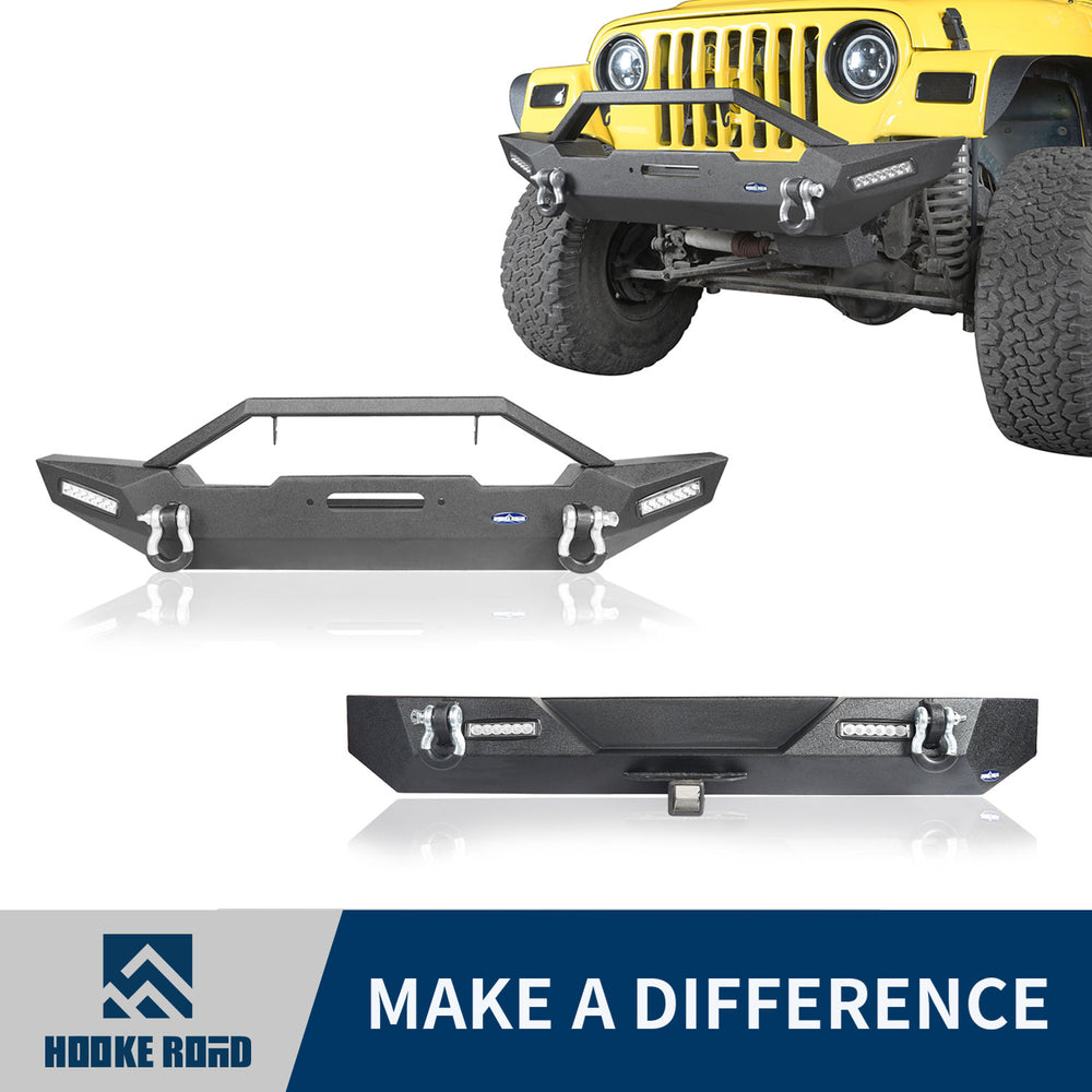 Hooke Road Stubby Front Bumper & Different Trail Rear Bumper Combo(87-06 Jeep Wrangler TJ YJ)