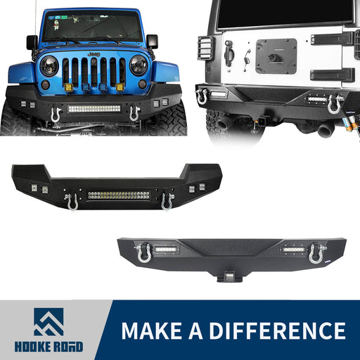 Hooke Road Climber Full width Front Bumper & Different Trail Rear Bumper Combo(07-18 Jeep Wrangler JK JKU)