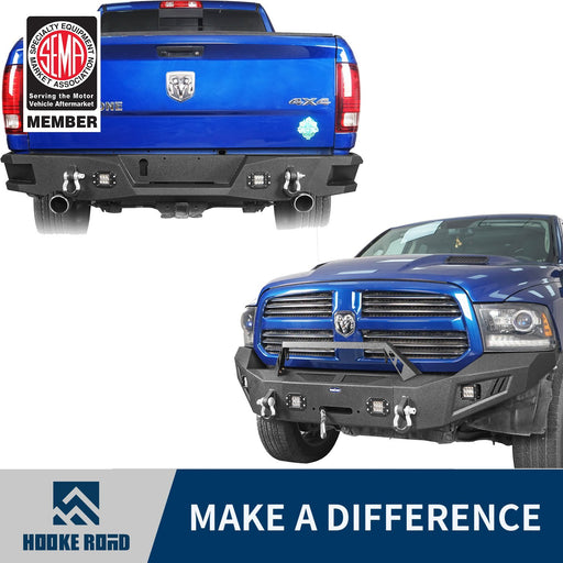Hooke Road Dodge Ram Full Width Front Bumper & Rear Bumper(13-18 Dodge Ram 1500,Excluding Rebel)