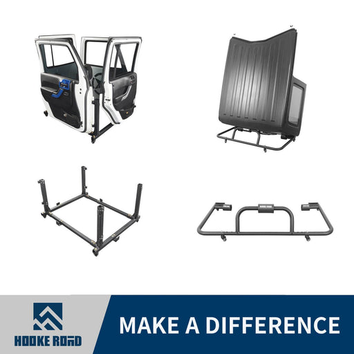 Hooke Road Door Rack & HardTop Carrier Storage Cart Combo(07-21 Jeep Wrangler JK JL)