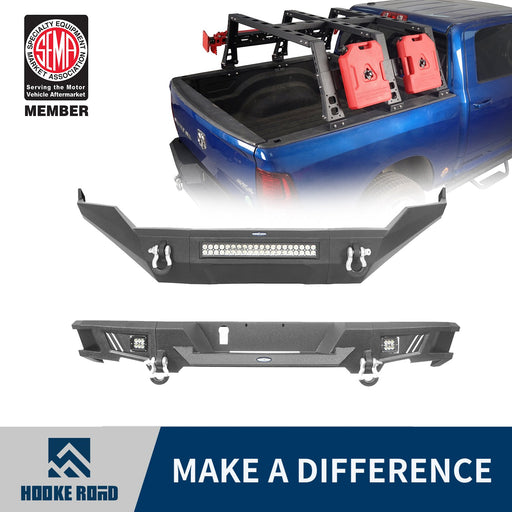 Hooke Road Front Bumper, Rear Bumper, MAX 13.8 Inch High Bed Rack(13-18 Dodge Ram,Excluding Rebel)