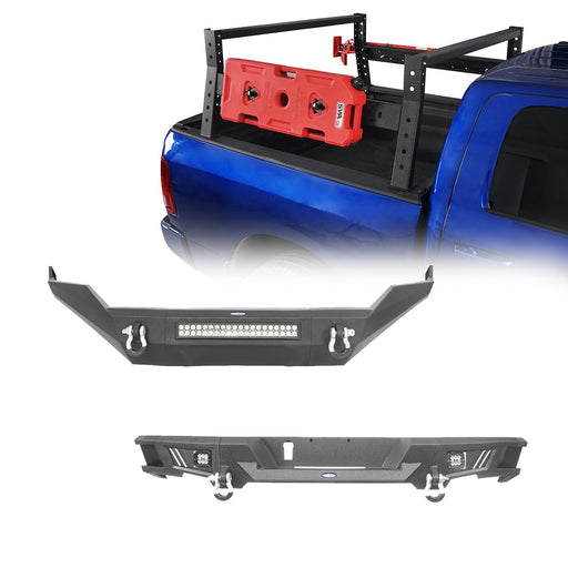 Hooke Road Full Width Front Bumper / Rear Bumper / 24.4 Inch High Bed Rack(13-18 Dodge Ram 1500,Excluding Rebel)