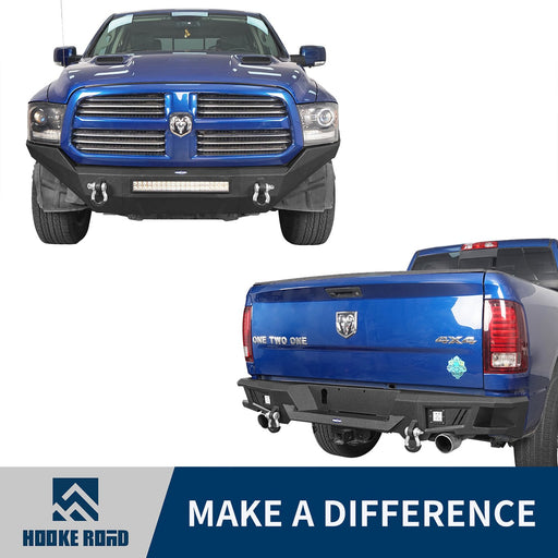 Hooke Road Front Bumper & Rear Bumper(13-18 Dodge Ram 1500, Excluding Rebel)
