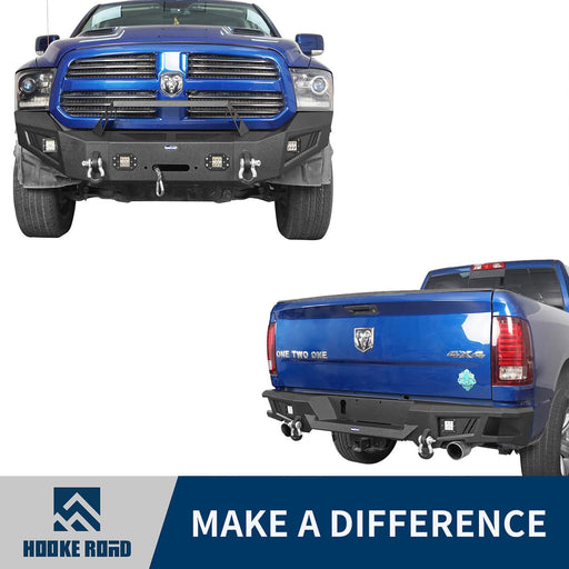Hooke Road Full Width Front Bumper & Rear Bumper(13-18 Dodge Ram 1500,Excluding Rebel)