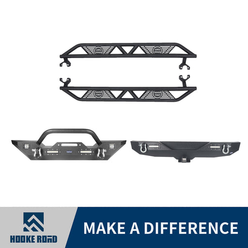 Hooke Road Front Bumper, Rear Bumper, Side Steps(07-18 Jeep Wrangler JK)