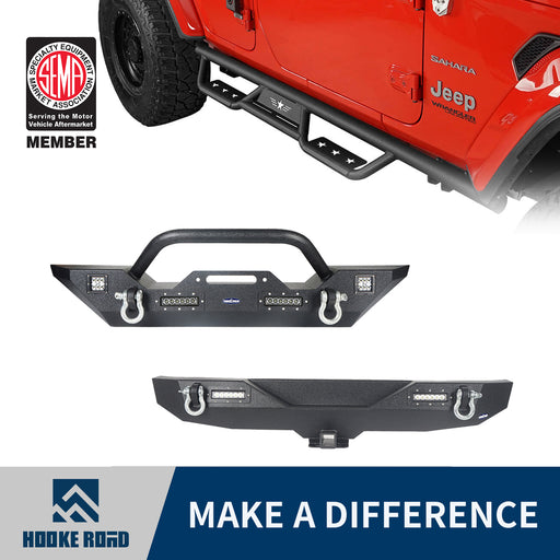 Hooke Road Front Bumper, Rear Bumper, Running Boards Side Steps(18-21 Jeep Wrangler JL)